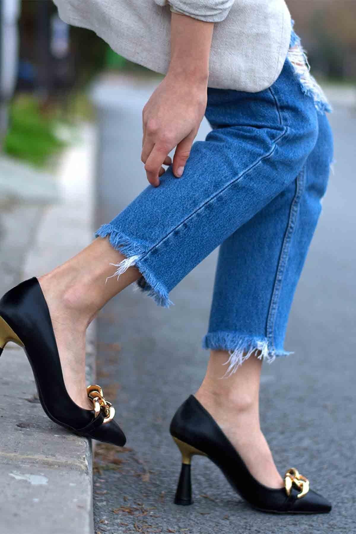 Gökçe Shoes ROLLİNG SİYAH STİLETTO 2
