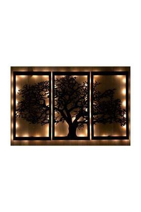 GOGKA Son Bahar 3'lü Siyah Çınar Ağacı Ahşap Işıklı Şık Peri Led Tablo Büyük Boy Dekorasyon Salon Ofis Hom