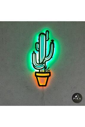 Pika Tasarım Dekoratif Kaktüs - Led Işıklı Tablo - Ahşap Duvar Dekorasyonu