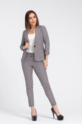 Jument Kadın Bej Desenli Kalın Kemerli Likralı Kumaş Pantolon