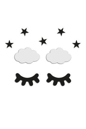 Dekolia Kişiselleştirilebilir Ahşap Lazer Kesim Duvar Dekoru Uyku Zamanı - Yıldız Bulut Kirpik Seti