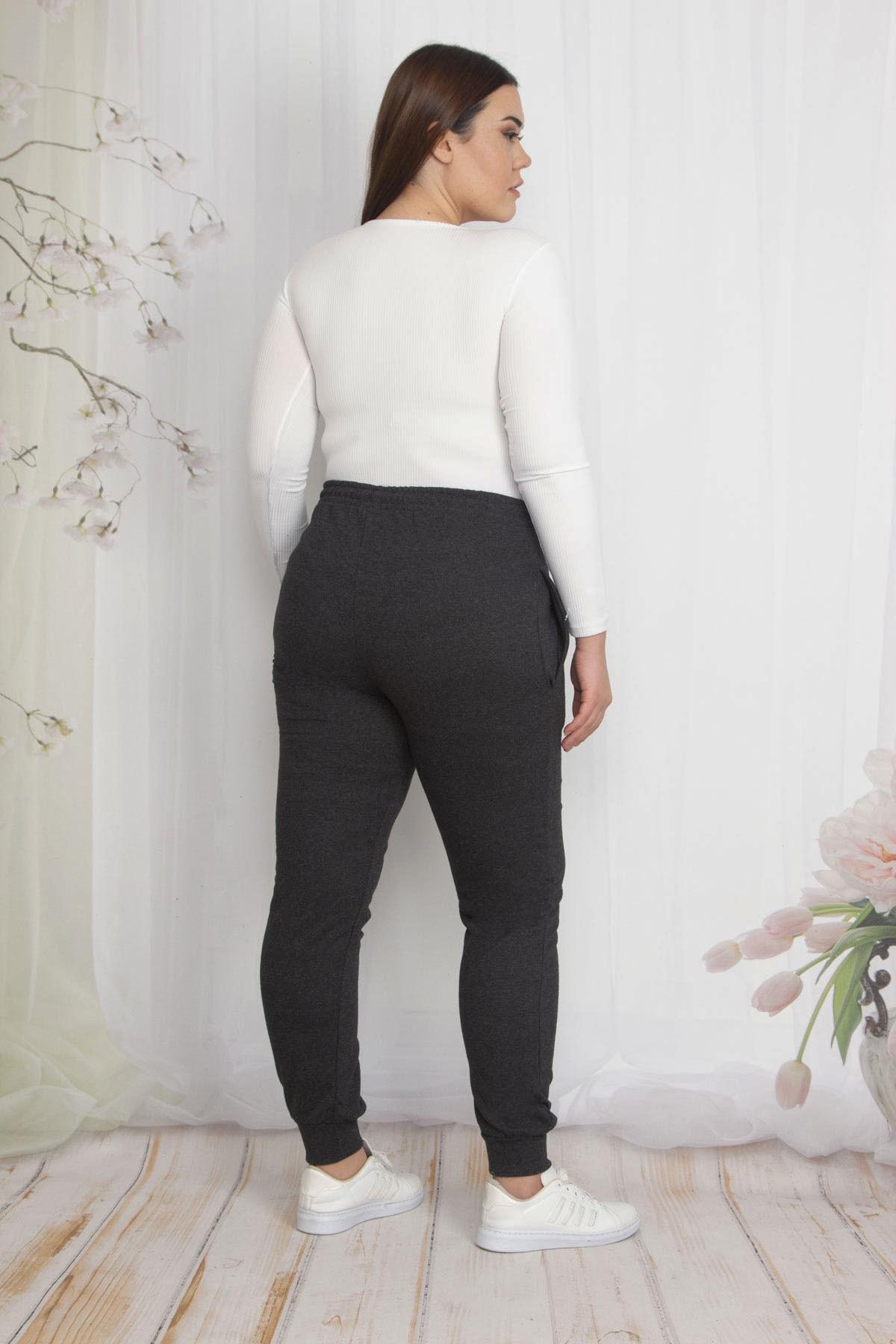 Şans Kadın Antrasit İçi Şardonlu Kumaş Cepli Bel Kısmı Lastikli Spor Pantolon 65N22210 2