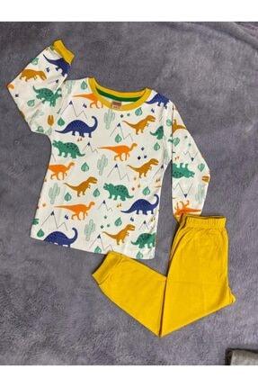 modalizy Erkek Çocuk Sarı Desenli Pijama Takımı