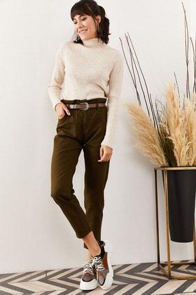 Olalook Kadın Haki Beli Lastikli Gabardin Pantolon PNT-19000111