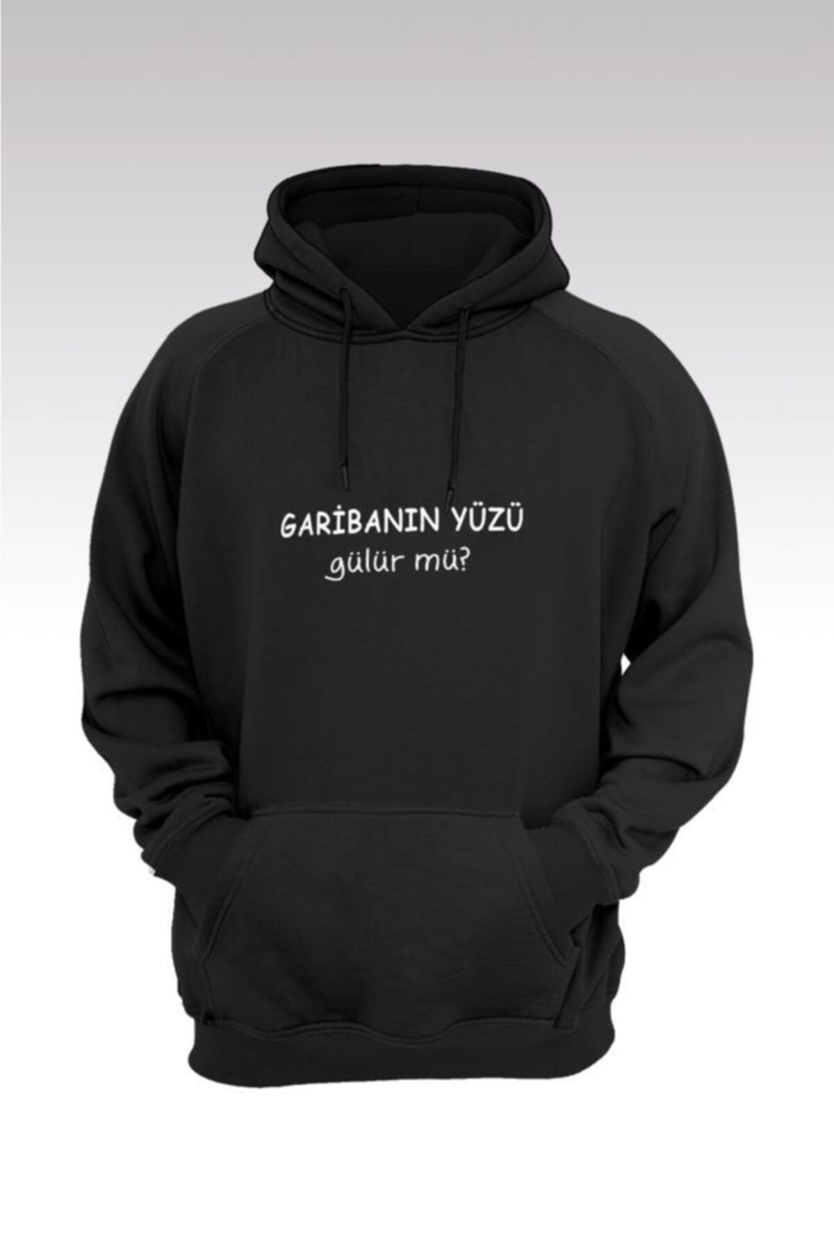 Tonny Mood Unisex Siyah Garibanın Yüzü Gülür Mü 206 Kapüşonlu Sweatshirt - Hoodie 1