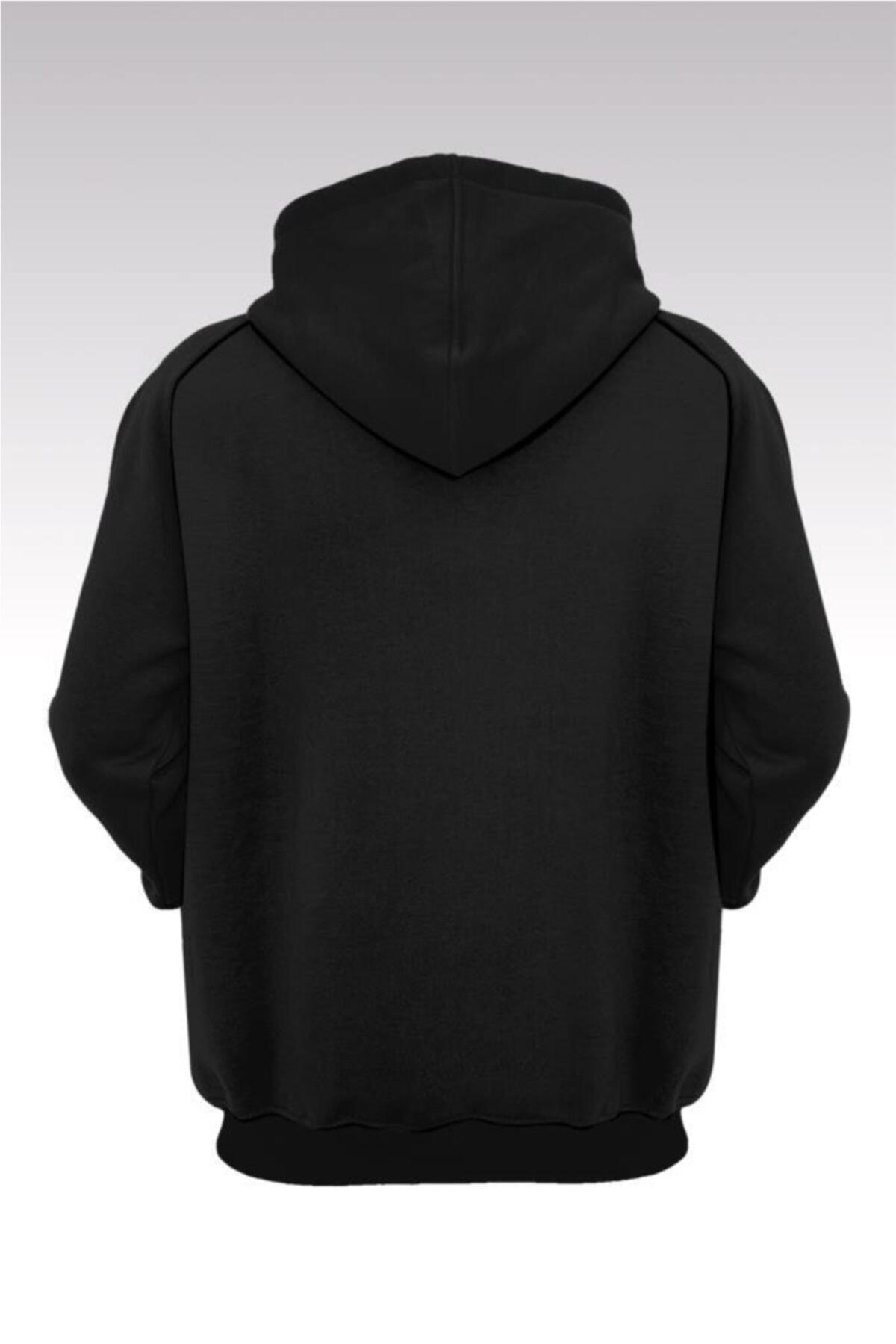 Tonny Mood Unisex Siyah Garibanın Yüzü Gülür Mü 206 Kapüşonlu Sweatshirt - Hoodie 2