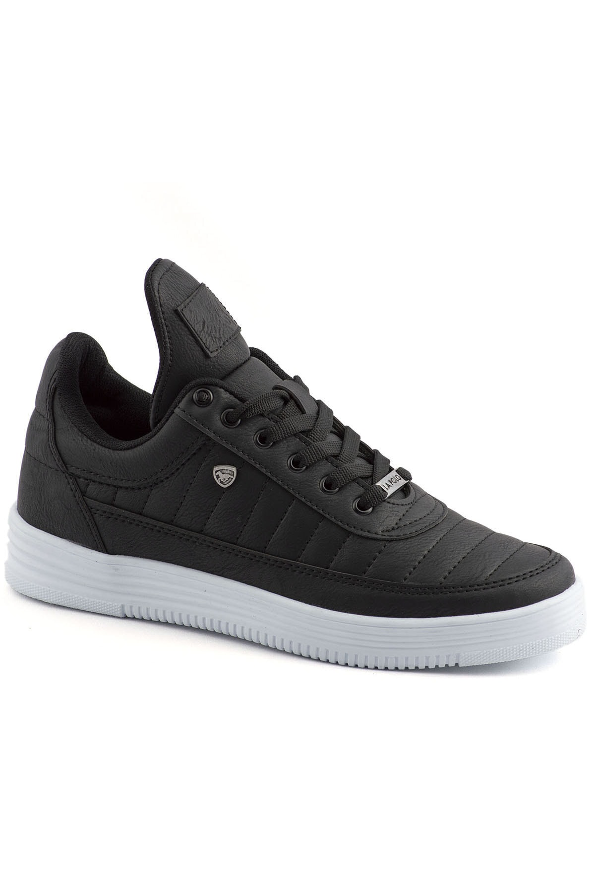 L.A Polo 07 Siyah Beyaz Dikişli Taban Unisex Spor Ayakkabı 1