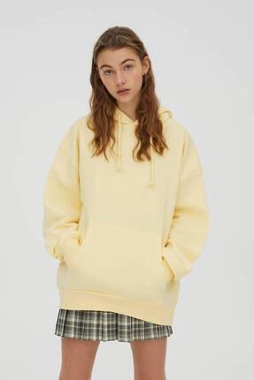Pull & Bear Basic Oversize Kapüşonlu Sweatshirt