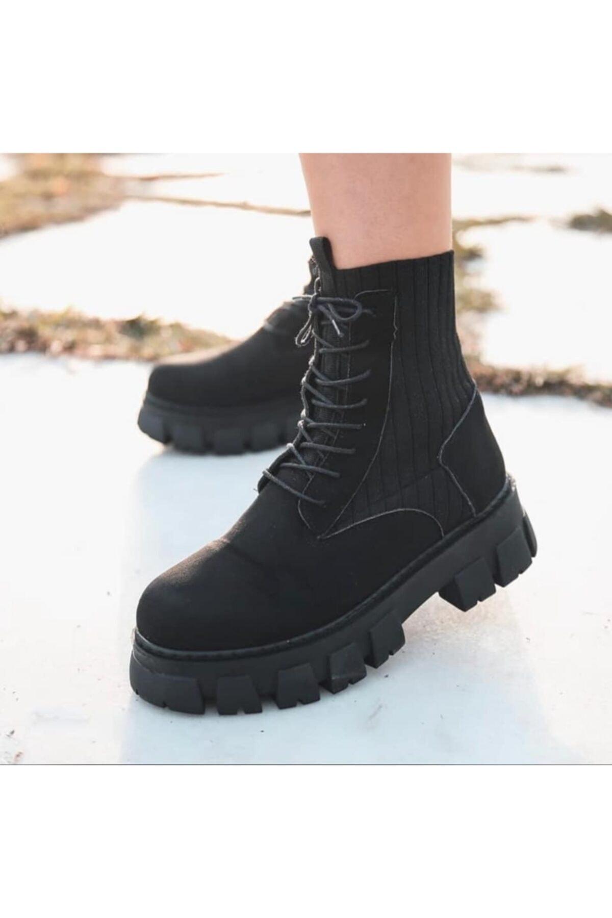 KULOĞLU AYAKKABI Kadın Siyah Çorap Postal Bot 1