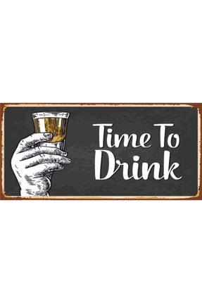 Hayat Poster Time To Drink Içki Zamanı (10 Cm X 20 Cm) Mini Retro Ahşap Poster