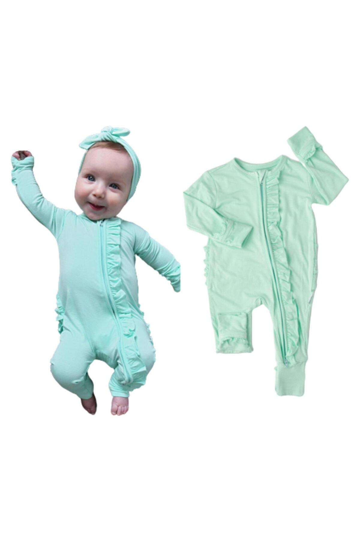 bebegen Fırfırlı Bandanalı Yeşil Tulum 1