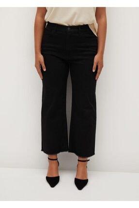 Violeta by MANGO Kadın Siyah Denim Normal Bel Culotte Jean Pantolon  77052505