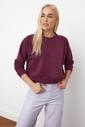 TRENDYOLMİLLA Mürdüm Basic Örme Sweatshirt TWOAW20SW0055