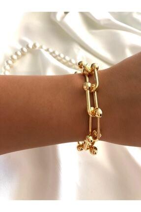 Mathilda Aksesuar Kadın Gold Renk Zincir Çelik Bileklik