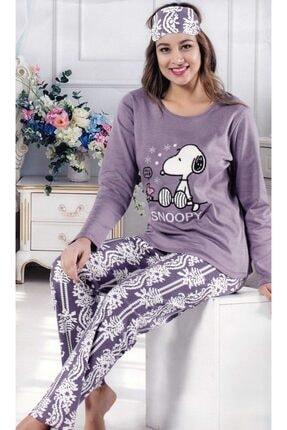 Çekmece Kadın Mor Desenli Uzun Kol Pamuklu Pijama Takım 2803