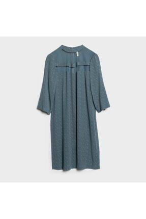 Yargıcı Kadın Açık İndigo Yaka Detaylı Elbise