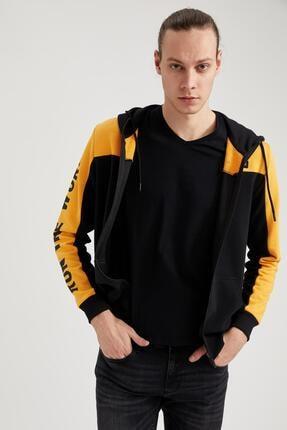 DeFacto Baskılı Slim Fit Kapüşonlu Fermuarlı Sweatshirt
