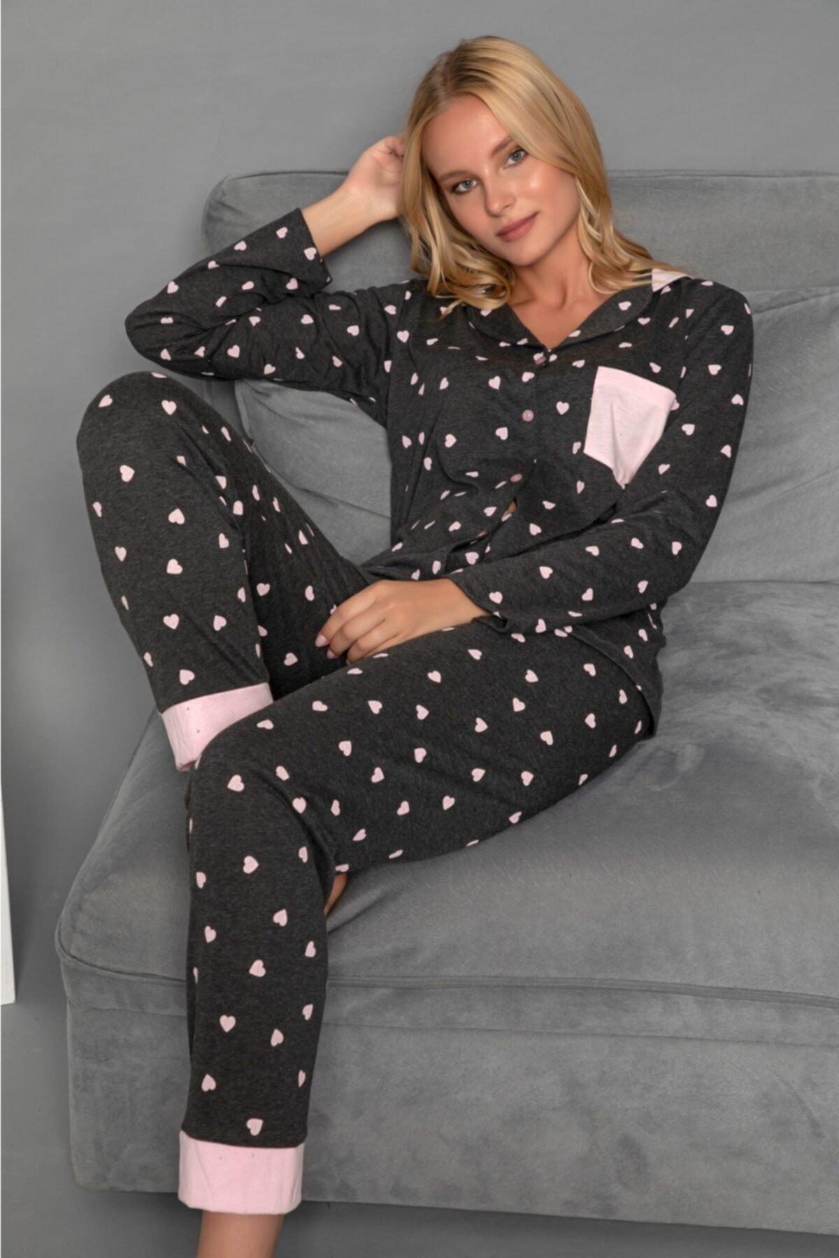 modalizy Anne Kız Siyah Kalp Desenli Pijama Kombinleri 2