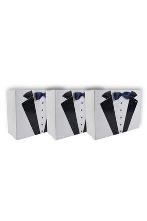 BÜYÜTEÇ KINA 3 Adet Beyaz Lacivert Smokin Karton Damat Çeyiz Kutusu Damat Bohçası Dürü Taşıma Kutusu 34x26 Cm