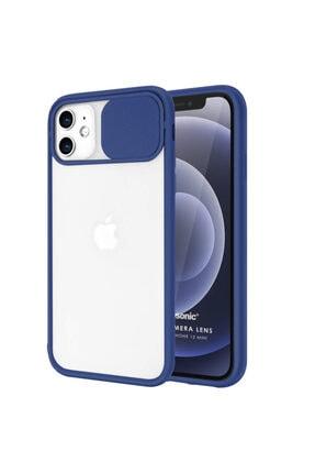Microsonic Iphone 12 Mini Uyumlu Lacivert Slide Camera Lens Protection Kılıf
