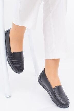 Hoba Ticaret Kadın Ortopedik Siyah Lastikli Içi Deri Alçak Topuk Günlük Rahat Ayakkabı