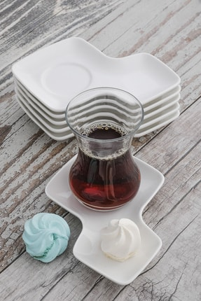 MHK Collection Porselen Çay Tabağı, Bardak Altlığı 6 Adet