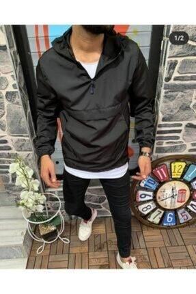 Veys Moda Unısex Siyah Ince Kanguru Cep Yağmurluk