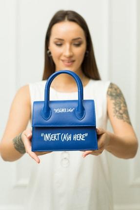 """weem bag """"ınsert Cash Here"""" Mavi Portföy Çanta"""