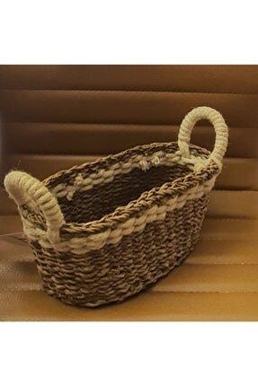 Sever Hasır Oval Kulplu Beyaz Şeritli Sepet Düzenleyici Ekmek Sepeti Havlu Sepeti 30x15x13 Cm