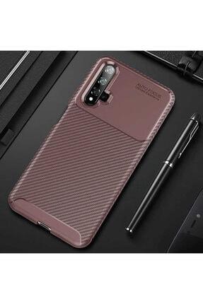 Huawei Nova 5t Kılıf Karbon Fiber Tasarımlı Dayanıklı Negro Model
