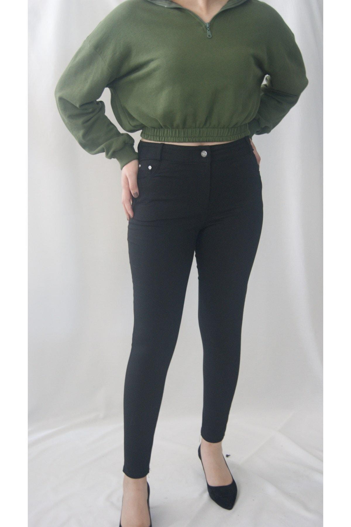 Zena Moda Kadın Siyah Beş Cep Likralı Pantolon 1