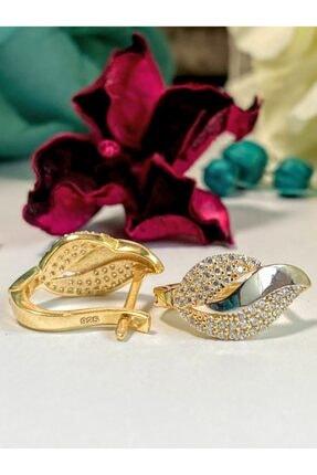 FLZSİLVER Altın Kaplama Gümüş Küpe
