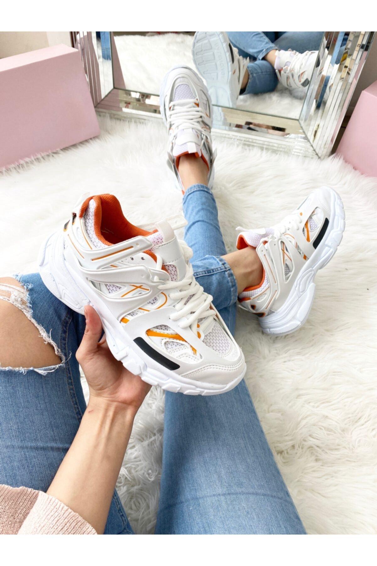 ELSESHOES Unısex Beyaz Turuncu Sneaker 1