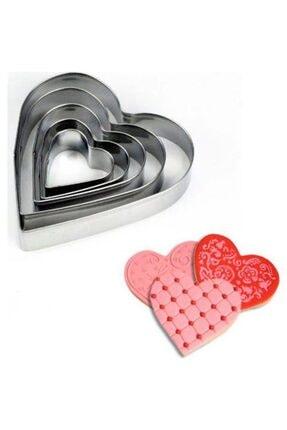senistegelir 5li Metal Kurabiye Kalıbı Kalp Şeklinde