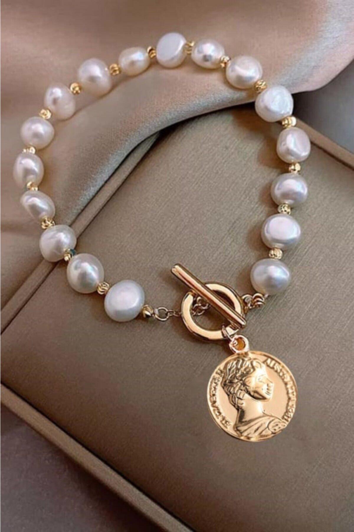 ESUSO Bayan Kadın Inci Detaylı Bayan Gold Kaplama Madalyonlu Bileklik Bilezik 1