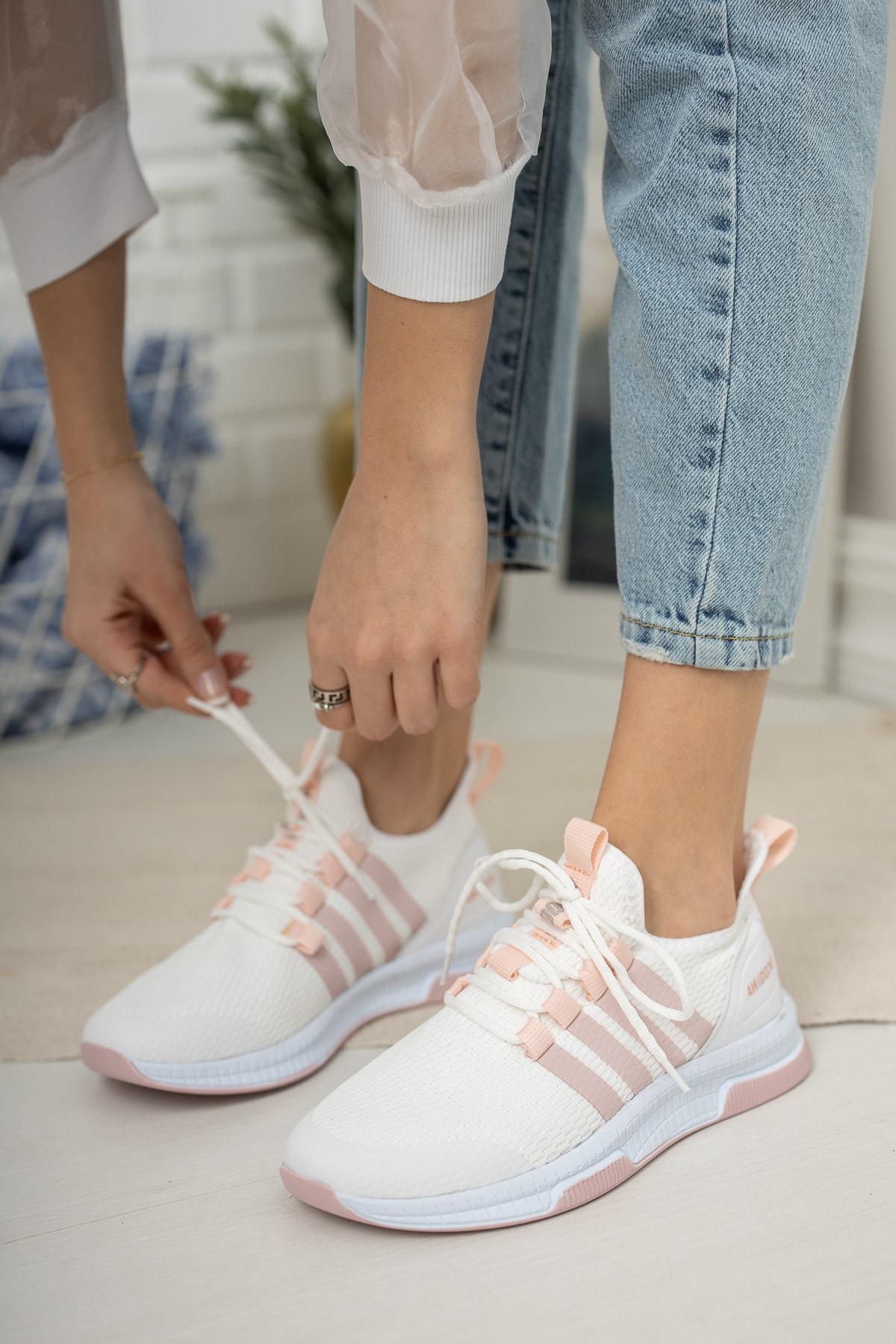 meyra'nın ayakkabıları Kadın Beyaz Pudra Sneaker Ayakkabı 1