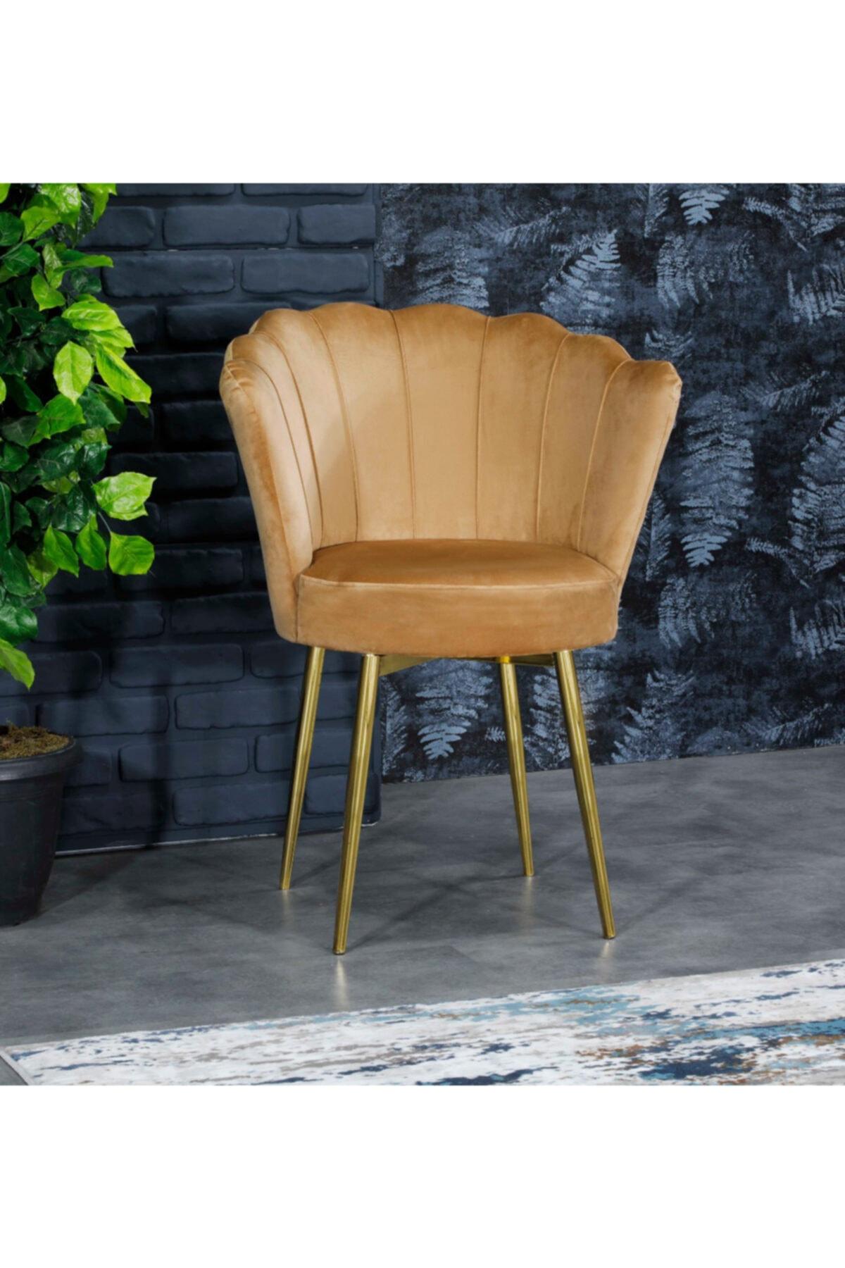 AYSU Sandalye Papatya Tekli Berjer Sarı Altın Ayak 1