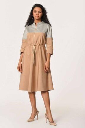 Mizalle Önü Fermuarlı Bağcıklı Elbise (Bej)
