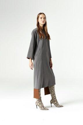 Mizalle Parça Detaylı Elbise (Gri)