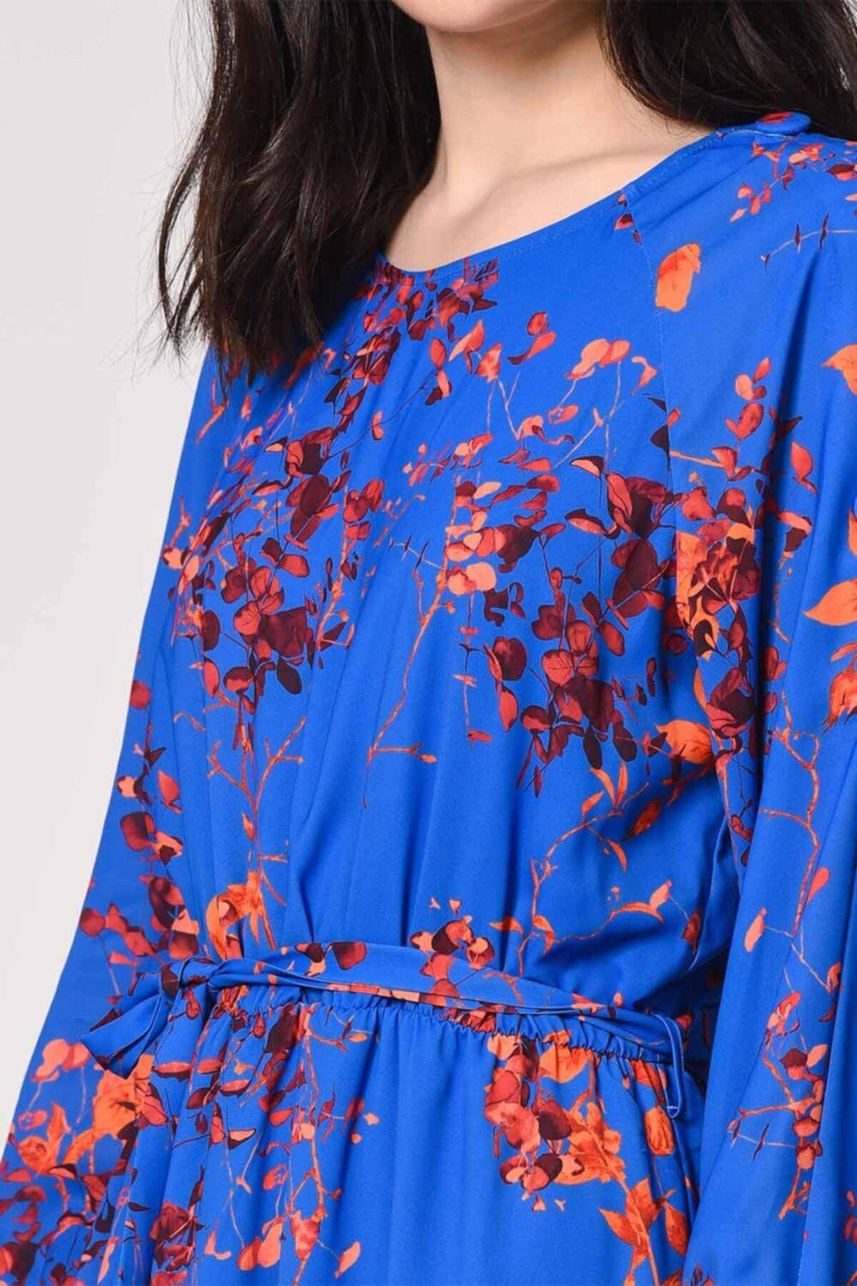 Mizalle Desenli Omuz Düğmeli Elbise (Saks) 2