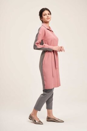 Mizalle Çift Renkli Tunik Elbise (Gri/pembe)