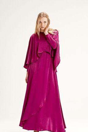 Mizalle Pelerinli Elbise (Fuşya)