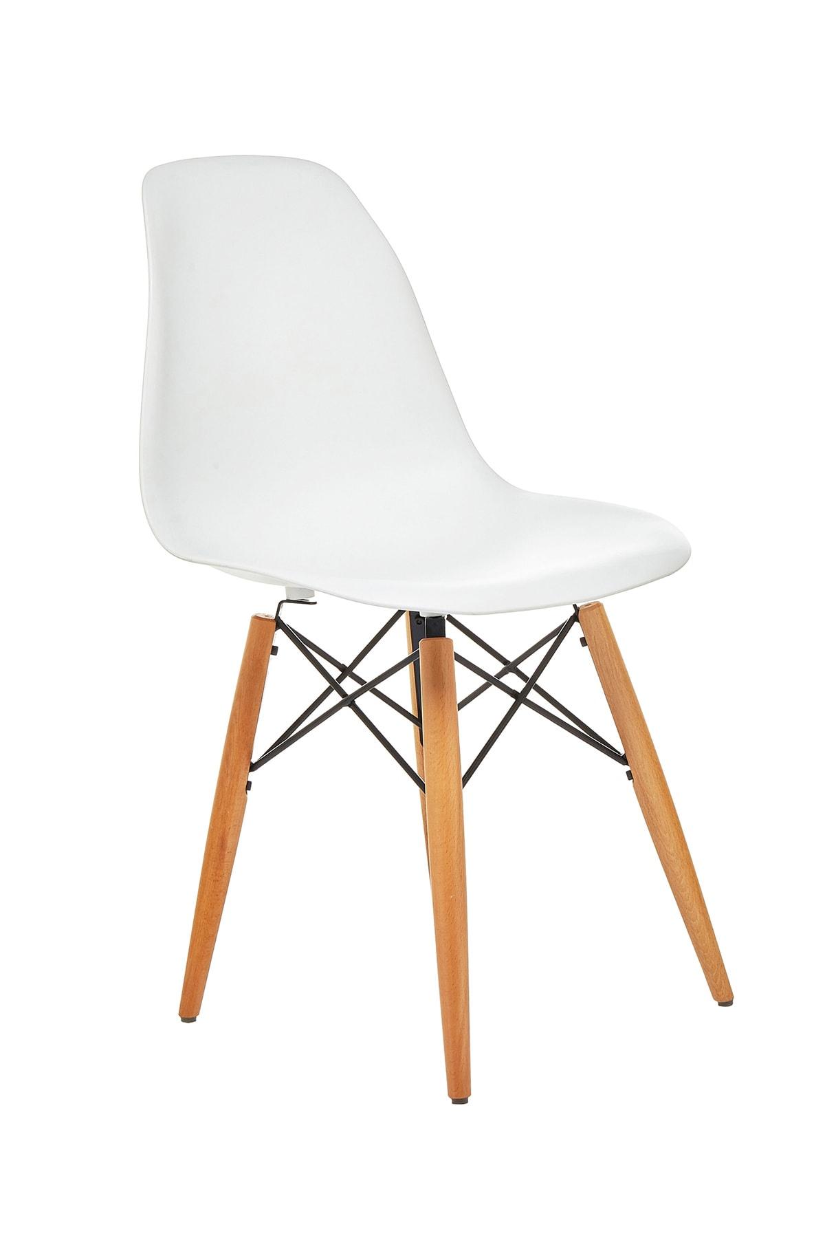 Seduna Beyaz Eames Sandalye Natural Ahşap Ayaklı   2 Adet 2