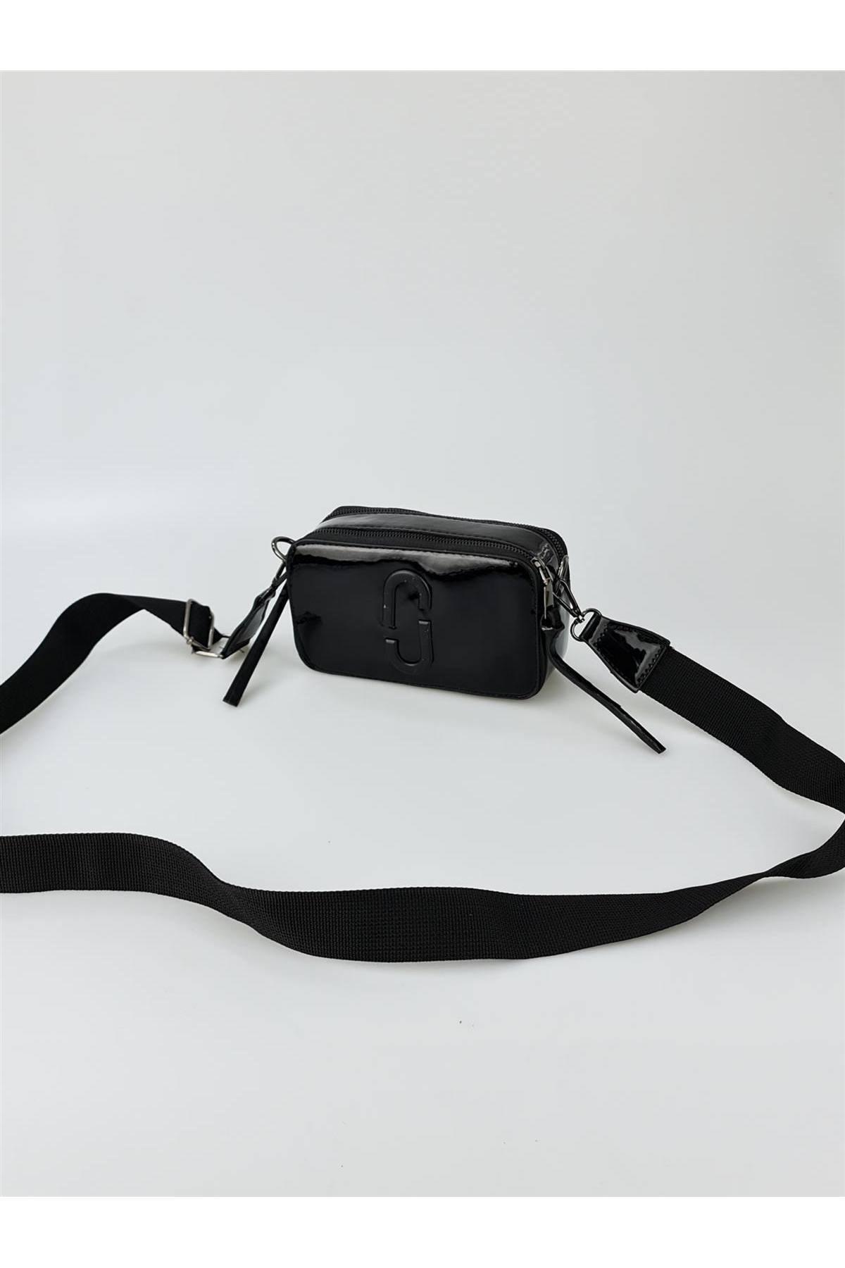 ESNASTORE Kadın Sİyah Rugan Mini Kutu Model Çanta 1