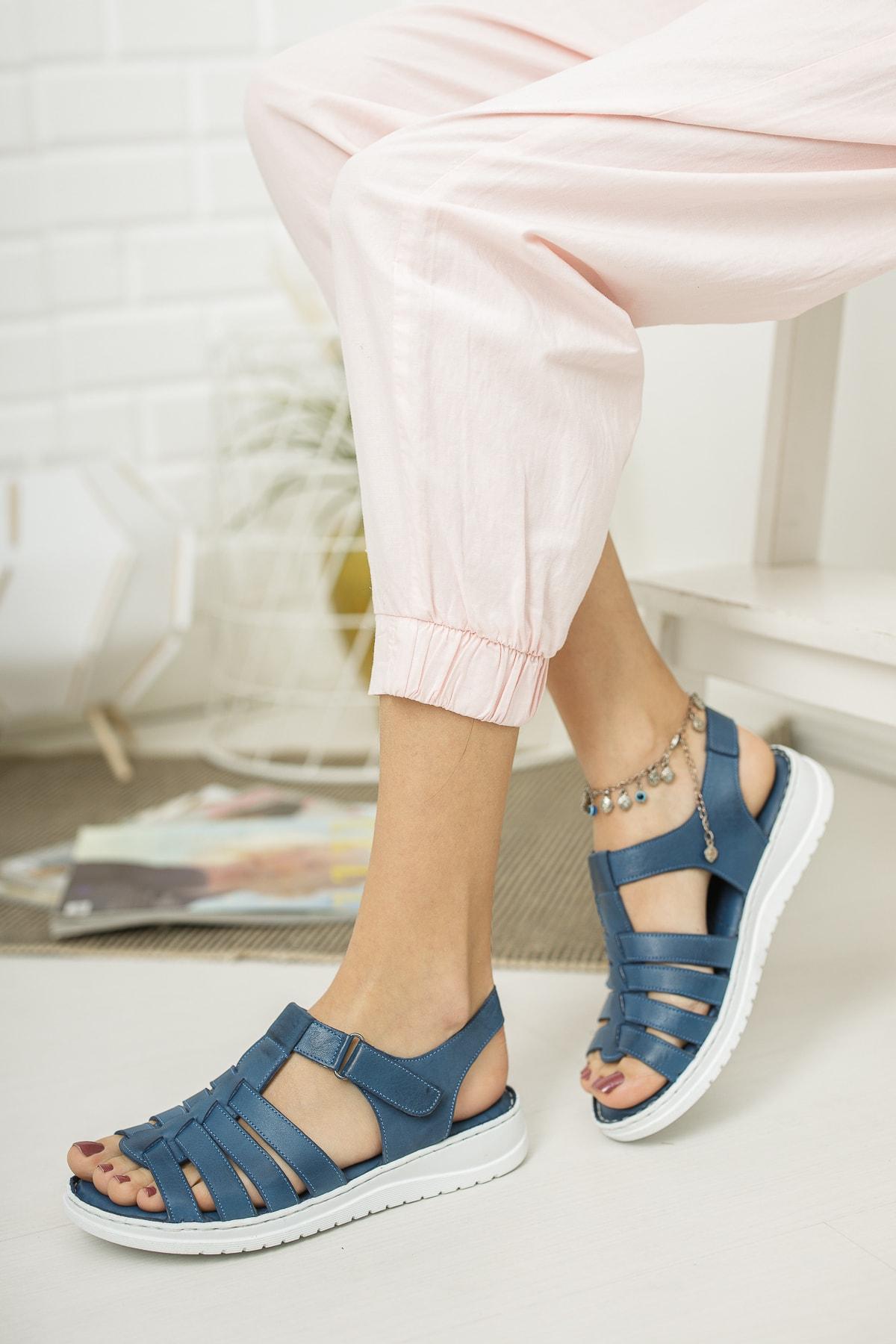Deripabuc Hakiki Deri Kot Mavi Kadın Deri Sandalet Dp05-0246 2