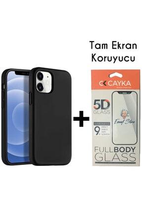 ESNAFSTORE Iphone 12 Kılıf Lansman Içi Süet Silikon Siyah + Full Ekran Koruyucu 5d