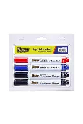 Brons Doldurulabilir Beyaz Tahta Kalemi 4 Lü Set (BR-991)