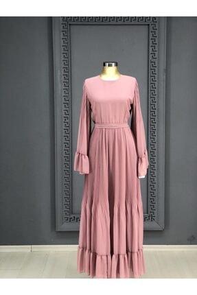 yildizlargiyim Re1669ps-yildizlar Giyim Piliseli Balon Kollu Tesettür Elbise.