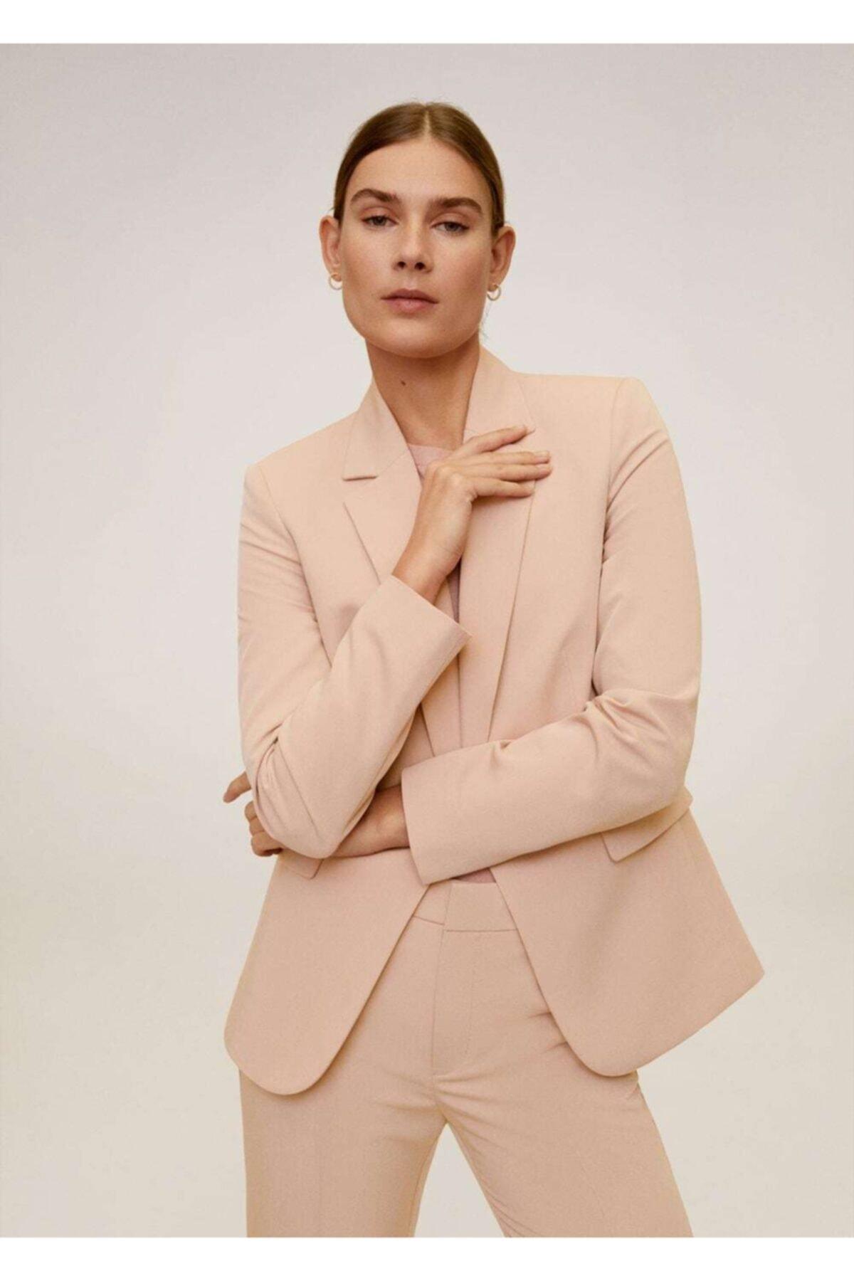 MANGO Woman Kadın Pembe Astarlı Gündelik Blazer Ceket 1