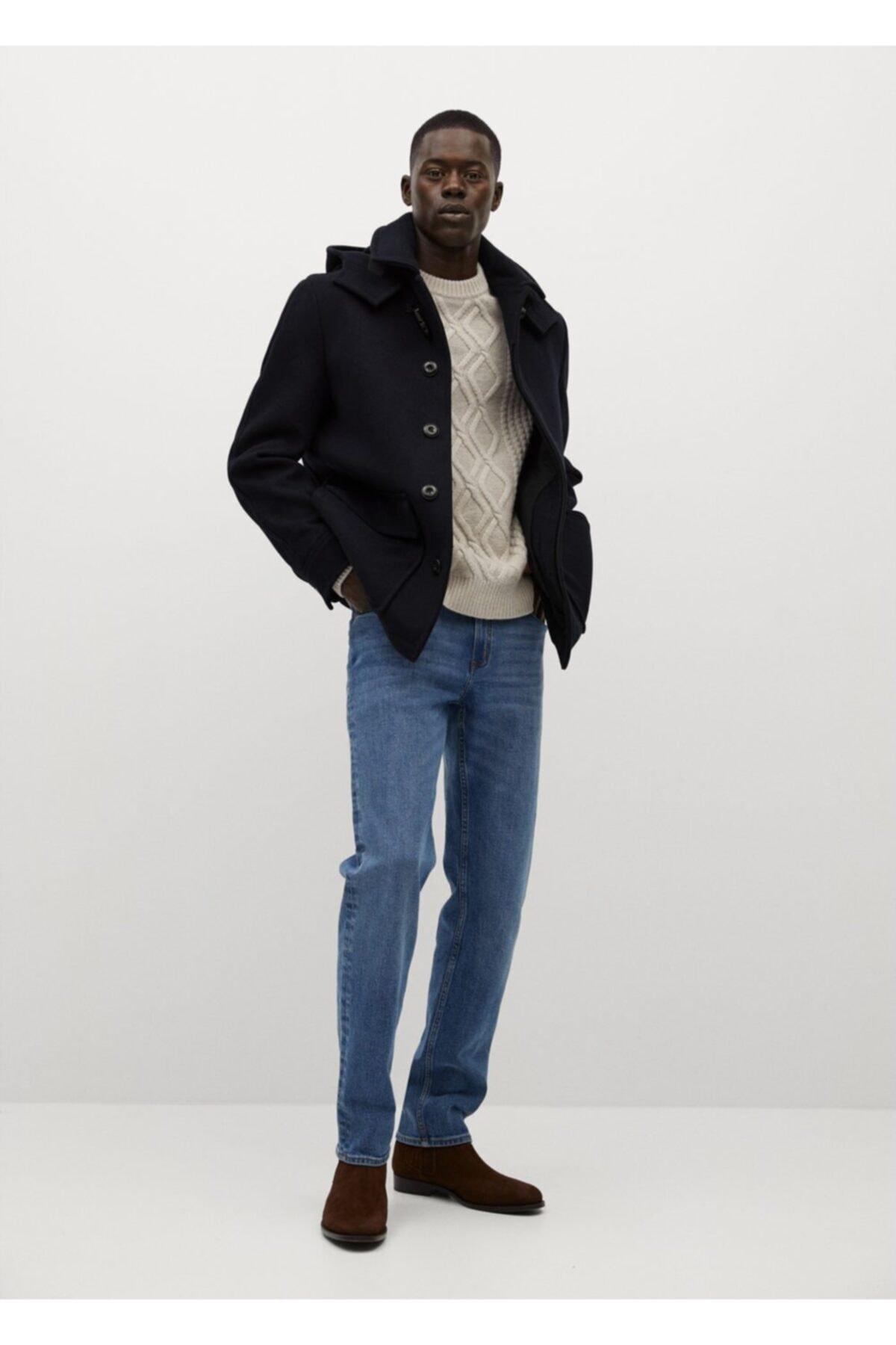 MANGO Man Erkek Çıkarılabilir Kapüşonlu Yün Palto 2